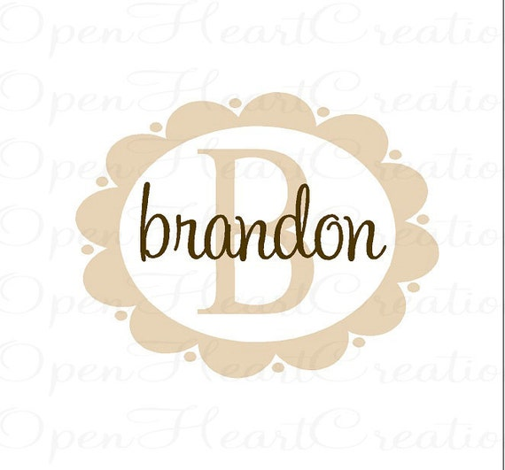 Name Wall Decal - Initial and Name Vinyl Wall Decal for Girl or Boy Baby Nursery Bedroom Teen 22H x 28W FN025