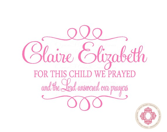 For this Child We Prayed Wall Decal with Baby Name and Accents - Christian Baby Nursery Scriptures 22H x 32W BA0281