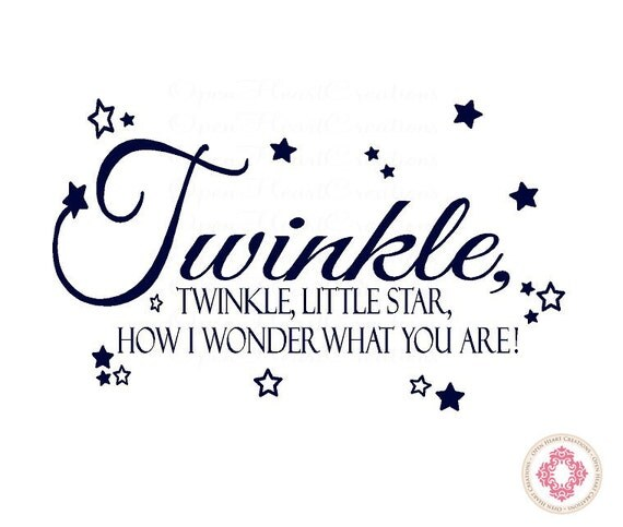 Twinkle Twinkle Little Star Wall Decal - Nursery Decal Quote Lettering with Stars BA0028