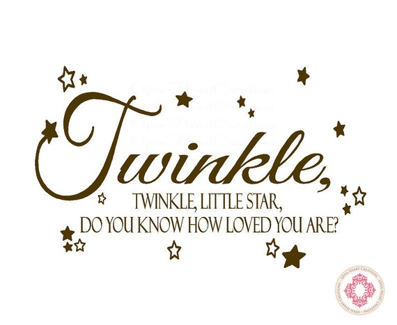 Twinkle Twinkle Little Star Do You Know How Loved You Are Wall Decal - Nursery Decal Quote Lettering with Stars 22H x 36W BA0029