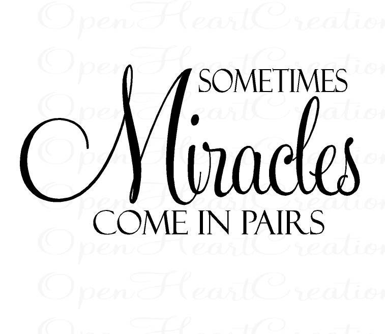 Sometimes Miracles Come In Pairs Vinyl Wall Decal Twin Baby