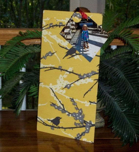 Magnet Board Kitchen Organizer Refrigerator or Locker - Joel Dewberry Aviary Sparrow Yellow Fabric