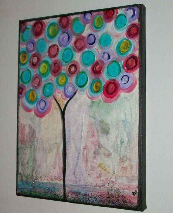 On Sale Iridesent Tree Original Handpainted Abstract Acrylic on Canvas 12x9in Beautiful Colors