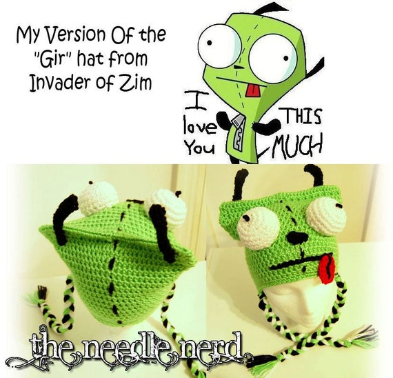 Crochet Invader Zim Patterns : GIR - Invader Zim Crochet Hat PDF Pattern Teen/Adult Size Only ...