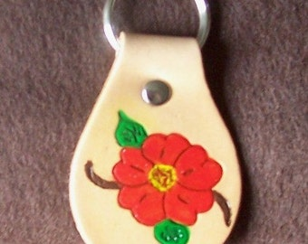 Red Flower Leather Keychain
