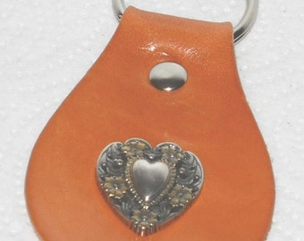Leather Keychain with Floral Heart Concho
