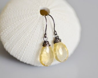 Citrine Oxidized Sterling Silver Earrings - Dangle - Faceted Pear Briolette - Wire Wrapped - Hand Forged