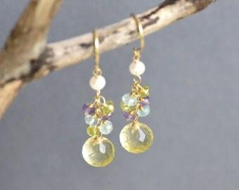 Multi Gem Earrings 14k Gold Filled Gemstone Cluster Lemon Quartz Onion Briolette Faceted Freshwater Pearl Hand Forge 24k gold vermeil