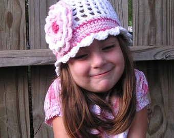 Baby Girl Hat, White Crocheted Hat with pink accent and large flower, Baby Girl to Teen Girl Hats, Crochet Hats for Girls