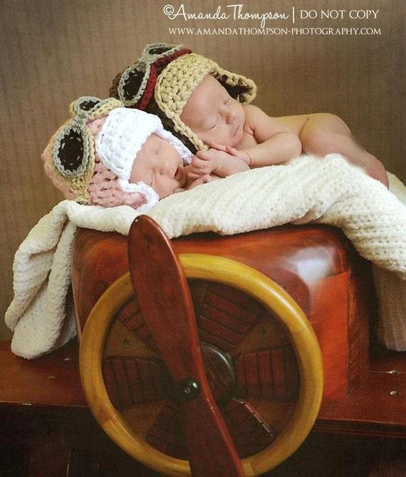 Newborn Aviator Hat, Hats for Babies, Baby Boy Hats, Baby Girl Hats, Aviator Hat with goggles, Crochet Baby hats
