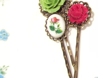 Flower Hair Pin Set - Mixed Flower Bobby Pins - Vintage Rose Limoges Hair Pin - Rose Hair Pins - Garden Wedding Hair Pins - Bridal Hair