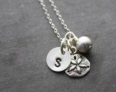 Sand Dollar Necklace - Custom Sand Dollar Necklace - Personalized Sand Dollar Necklace - Initial Sand Dollar Necklace - Silver Sand Dollar