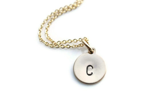 Gold Initial Necklace - Initial Charm Necklace - Personalized Gold Initial Necklace - Custom Gold Initial Necklace - Gold Initial Charm
