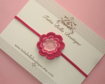 Dainty Pink Flower Headband, Baby Headband, Hot Pink Crochet Headband, Baby Hair Bow, Newborn Headband
