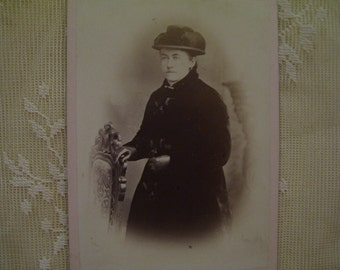 Old Lady with Fur Jacket and Large Hat - Antique Cabinet Photo - 1800's