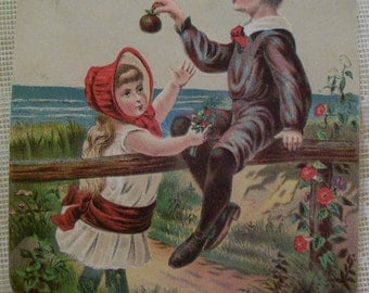 SALE---Cute Teasing Boy and Girl on Fence - Victorian Trade Card - Star Soap - 1800's