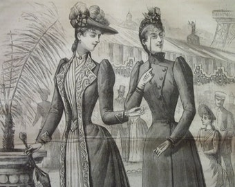2 Pretty Ladies in Fashion Dress with Hats, Spectacles and Umbrella - Antique Fashion Harpers Bazar Plate - 1889
