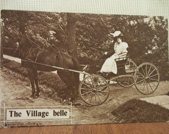 The Village Belle - Couple in Horse Pulled Buggy - Photo Postcard - 1910