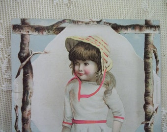 Pretty Girl with Hat with Tree Branch Border - Victorian Trade Card Scrap - Fleischmann's Yeast - early 1800's