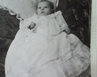 SALE....Little Baby in Beautiful Christening Gown - Real Photo Postcard - early 1900's