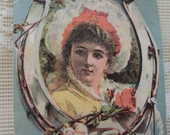 Pretty Lady with Large Frilly Hat in Horseshoe - Victorian Trade Card Scrap - 1800's