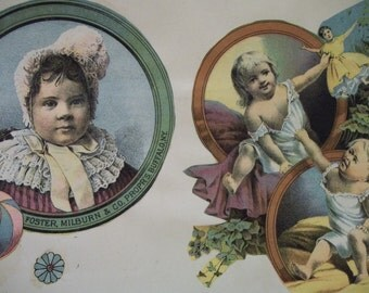 Pretty Little Girls with Dolls and Old Toys - Victorian Card Scrap - Scrapbook Page-1800's