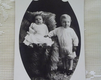 Adorable Barefoot Baby and her Cute Brother - Real Photo Postcard - early 1900's