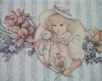 Pretty Girl Holding Bunny with Colorful Flowers - Watercolor Print - Jan Hagara - Vintage Greeting Card