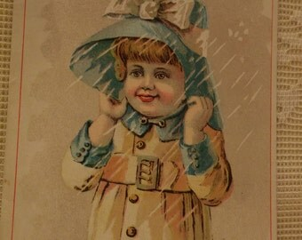 Little Girl in the Rain Wearing Raincoat and Hat - Atkinson House Furnishing Co. - RARE Victorian Trade Card  - 1889