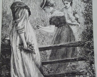 Pretty Ladies in Fashion Dresses, picking Buttercups - Antique Engraving Print Illustration - 1880's