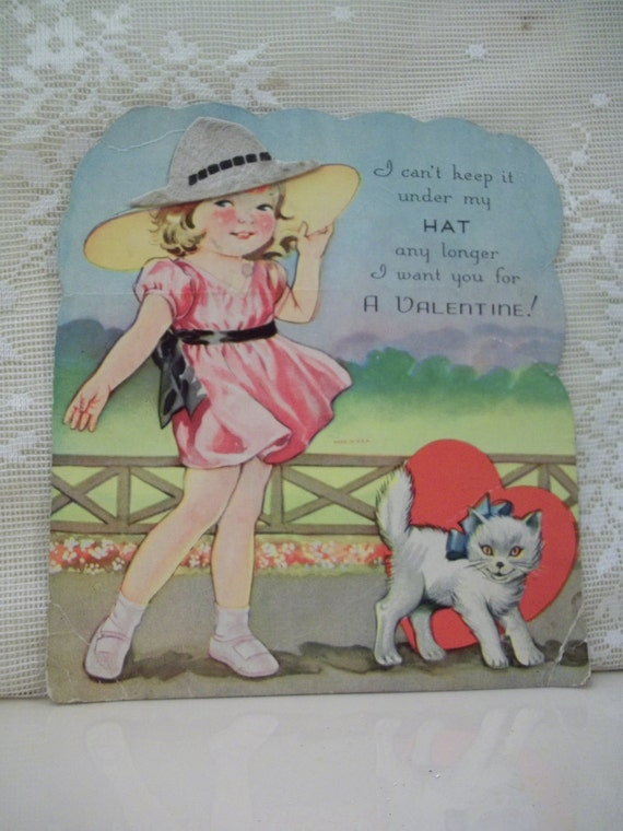 SALE....Cute Girl and Her White Cat - Felt Hat - Large Die Cut Valentine - 1930's