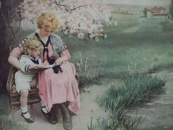 Mother and Baby Reading Book under the Apple Tree - Pastel Colors - Vintage Art Print - 1920's