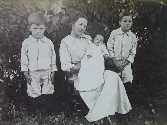 Proud Mom with her 3 Kids - Real Photo Postcard - early 1900's
