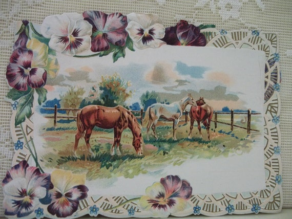 Grazing Horses with Pansy Border - Embossed Die Cut Card - early 1900's