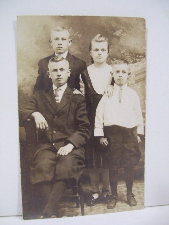 SALE---Family Photo - 3 Brothers and One Lonely Sister - Real Photo Postcard - early 1900's