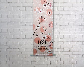 Canvas Growth Chart Custom Pretty in Pink with flowers and birds