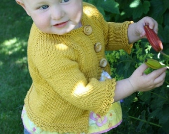 KNITTING PATTERN // Elsie Cardigan // child's top-down cotton sweater -- PDF