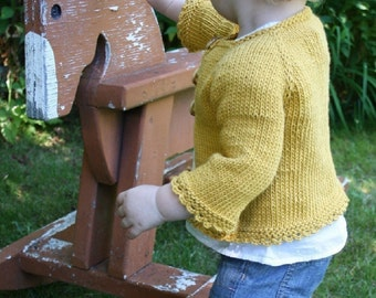 KNITTING PATTERN // Elsie Cardigan // child's top-down cotton sweater -- PDF