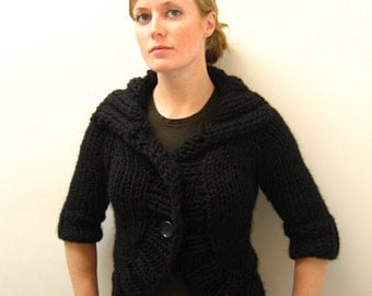 KNITTING PATTERN // Cozy Bolero cardigan // top down super bulky sweater -- PDF