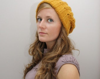 KNITTING PATTERN // Jane hat // eyelet mock-cable toque with double brim -- PDF