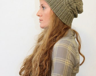 KNITTING PATTERN // Kathleen hat // worsted cable rib toque -- PDF