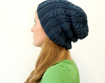 KNITTING PATTERN // Elizabeth hat // simple cable rib chunky toque -- PDF