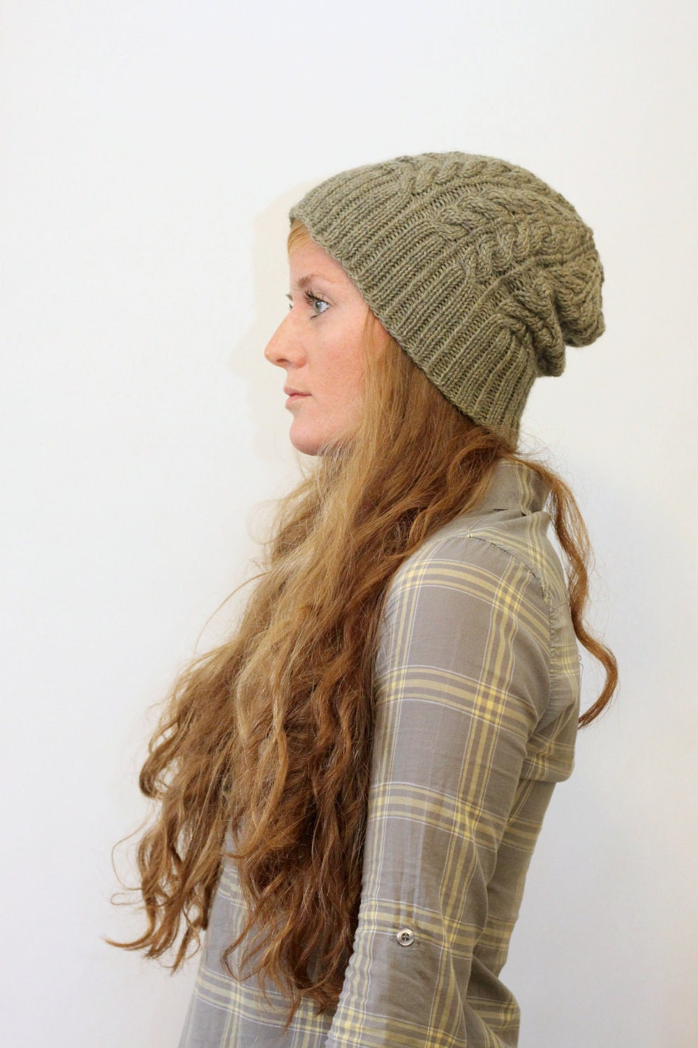 Knit Beanie Pattern Worsted Weight : KNITTING PATTERN // Kathleen hat // worsted cable rib toque