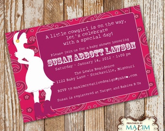 Cowgirl Baby Shower - Baby Shower Invitation, Party Invitation, , Cowboy Baby Shower, DIY Printable Invitation....by Maxim Creative Invites