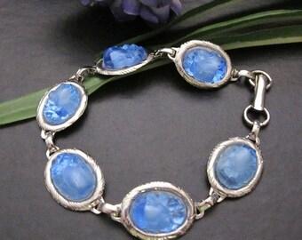 Sapphire Blue Vintage Oval Glass Cabs in Vintage Link Bracelet