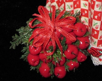 1/12 Scale (Dollhouse) Red Apple Holiday Christmas Wreath with Red Satin Bow - Williamsburg Style Wreath - Indoor Fairy Garden