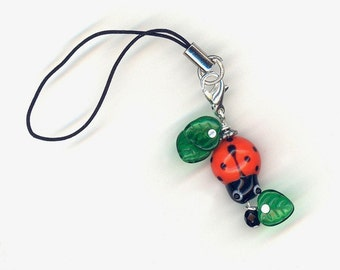 Orange Lady Bug and Leaves Cell Phone Charm or Zipper Pull