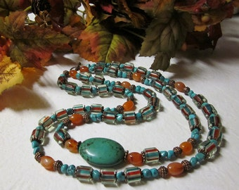 Indian Summer - 2 Strand Turquoise Carnelian and Cane Glass Beaded Necklace