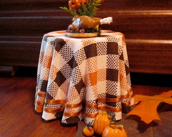 1/12 Scale (Dollhouse) Harvest Theme Single Orange and Brown Cloth Covered Table with Ribbon Trim - Indoor Fairy Garden