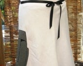 Price Reduced! Mod Moai Madness A-line linen skirt, with swirly hem detail